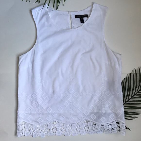 Banana Republic white top with detailing